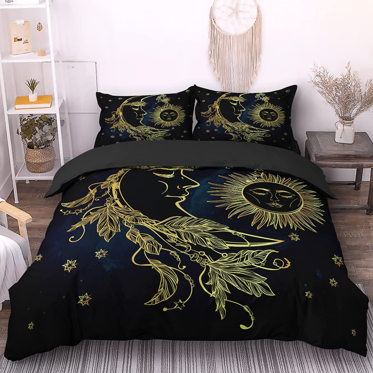 Bohemian Duvet Cover Queen 3D Golden Printed Moon and Our shop most popular NEW before selling ☆ Beddin Sun