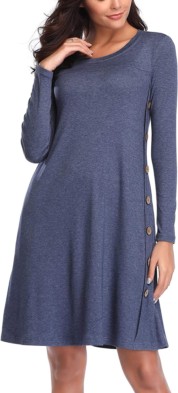 FENSACE with Pockets Womens Long Sleeve T Shirt Tunic Dress