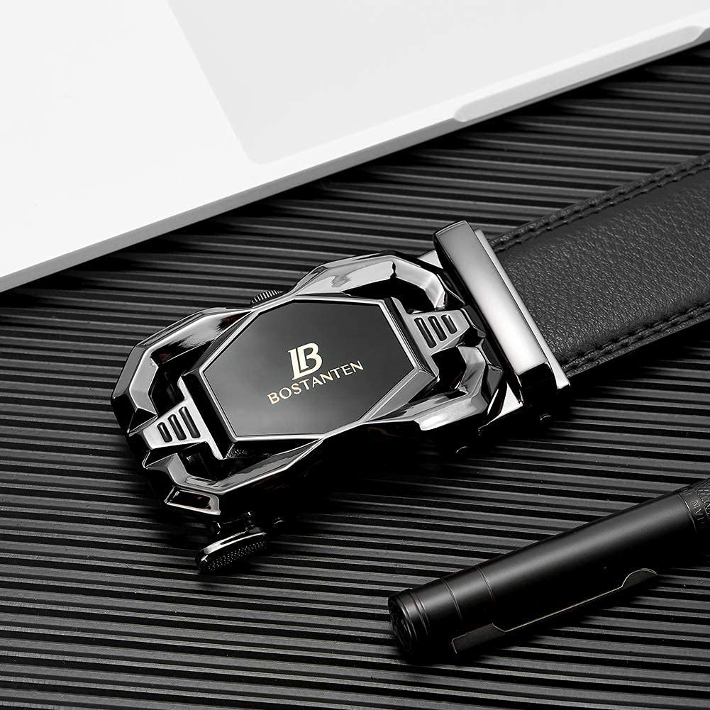 BOSTANTEN Men's Leather Ratchet Dress Belt with Automatic Sliding Buckle and Leather Wallets for Men Bifold Money Clip Slim Front Pocket RFID Blocking Cards Holder Black