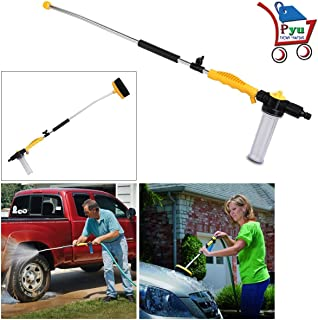 P YU® Water Zoom Jet Power Pressure Washer Lance Garden Hose Attachment with Soap Dispenser and Brush - Ideal for Washing ...