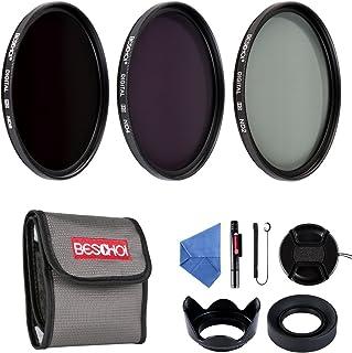 BESCHOI - 58mm Lente Filtro Packs de Filtros Fotográficos para Nikon Canon EOS DSLR Cámaras (10 PCS Incluye ND2 ND4 ND8 + Aceesorios)