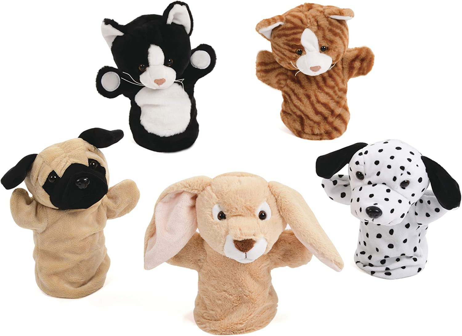Pet Hand Puppet Set 36yrs, Lop Rabbit, Black and White Cat, Ginger Cat, Dalmation and Pug Dog x5 Hand Puppets Soft Props Role Play, Story and Rhyme Telling