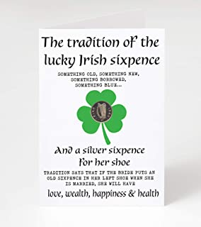Bride's Sixpence Irish Coin and Card | Sixpence Tradition | Something Old, Something New, Something Borrowed, Something Bl...