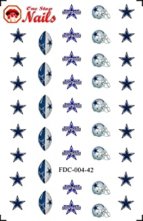 Cowboys water-slide nail decals (tattoos) V4. Set of 40. (A21)