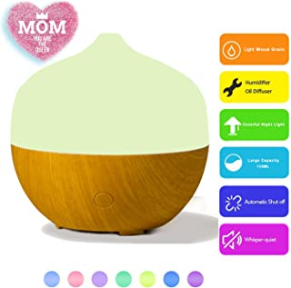 Hidly Aroma Diffuser 130ML Essential oil Diffuser Electric Ultrasonic Humidifier Cool Mist Humidifier, Air Purifier, 7 Color LED lights and Timer Settings, Whisper-Quiet - Light Wood Grain