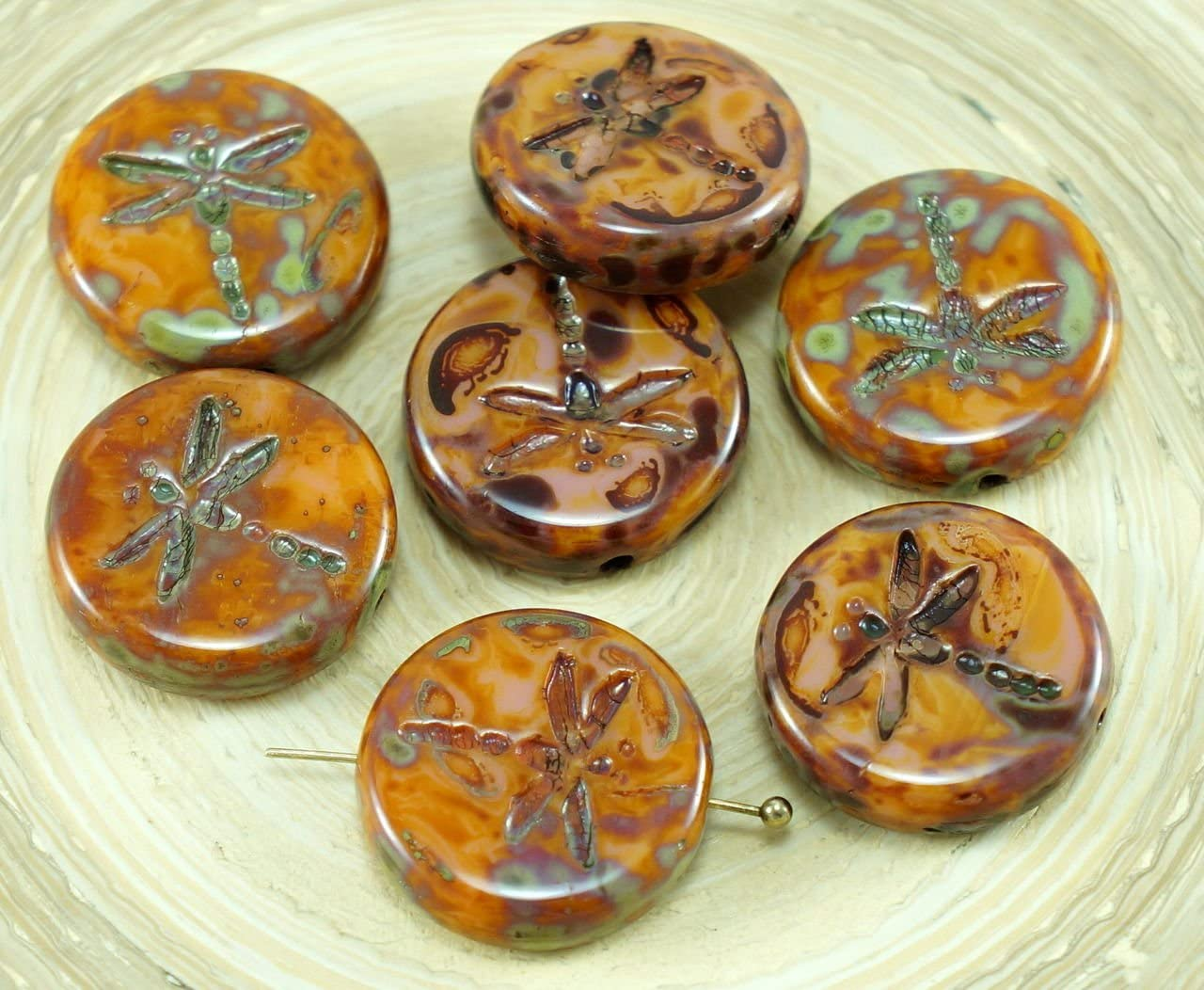 2 Rose Pink Gold Wash Dragonfly Czech Glass Coin Shaped Beads 17x4mm Round Flat Coin Beads Silky Pink Gold Wash Czech Glass Dragonfly #S3996