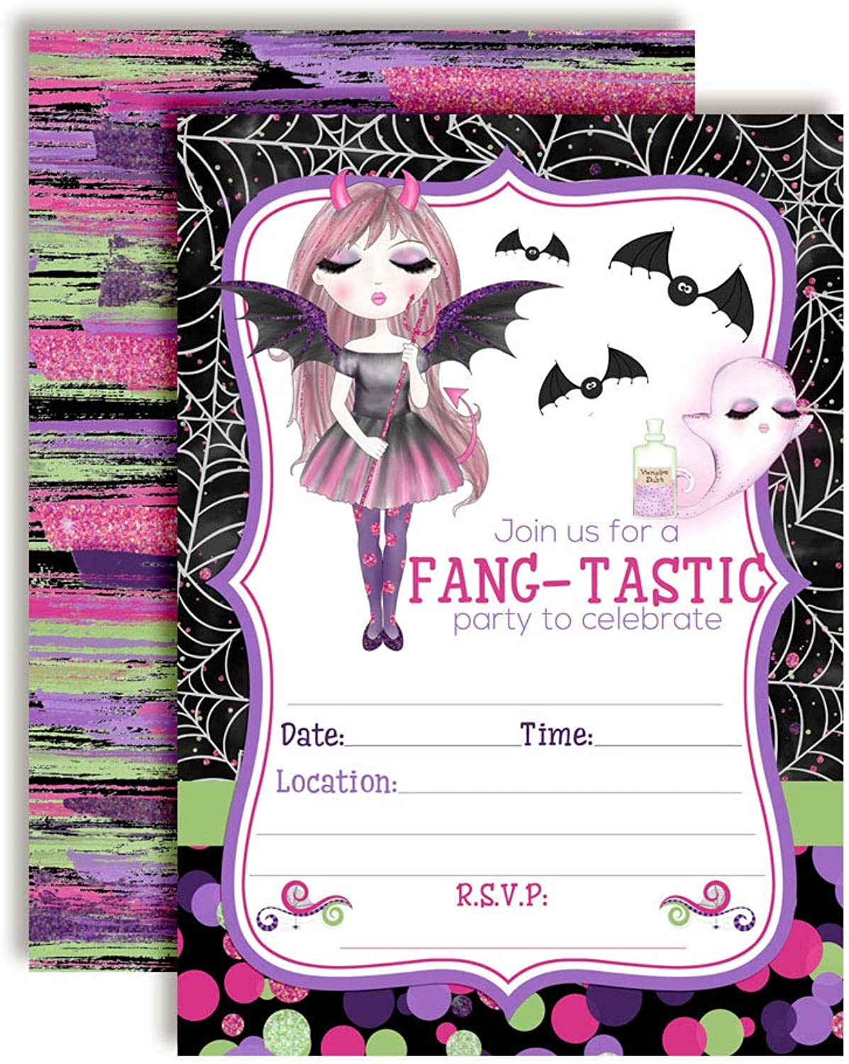 FangTastic Vampire Girl Halloween Birthday Party Invitations, 20 5 x7  Fill in Cards with Twenty White Envelopes by AmandaCreation