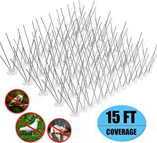 Remiawy Bird Spikes for Small Birds,Bird Deterrent Spikes Stainless Steel Pigeon Spikes for Fence Roof Mailbox Window -Cover 15 Feet (14 Pack)