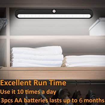 T01LB LED Closet Light - BLS Super Bright 20 LED Under Cabinet Lighting Battery Powered/DC Input Wireless Motion Sens...