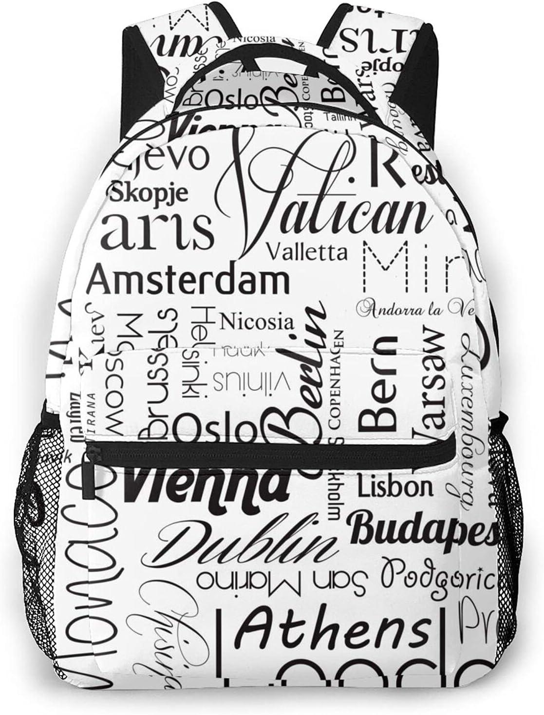 Rare Font Las Vegas Mall Letter Unique Outdoor Shoulders Fabric Backpack Multipu Bag