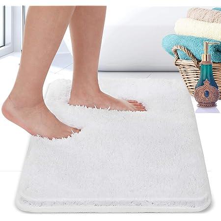 RiyaNed Alfombra de baño antideslizante, suave y esponjosa, lavable a máquina, fácil de limpiar, superabsorbente, adecuada para bañera, ducha y baño (blanco, 40 x 60 cm)