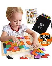 木製 パズル モンテソッリー 教育 教具 kimurea select 知育玩具 ブロック 積み木 型はめ テトリス おもちゃ (カラフル)
