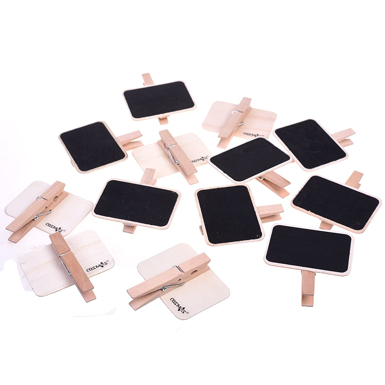 COSMOS Pack of 12 PCS Erasable Wooden Chalkboard Label Clips Message Memo Boards Clips