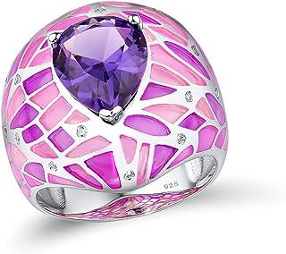 Santuzza Enamel Rings 925 Sterling Silver Purple Crystal Ring Shiny White Cubic Zirconia Fine Jewelry for Women