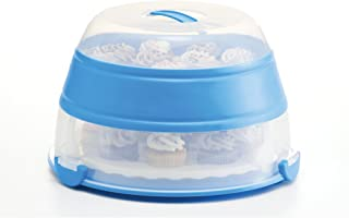 Prepworks by Progressive Collapsible Cupcake and Cake Carrier, 24 Cupcakes, 2 Layer, Easy to Transport Muffins, Cookies or Dessert to Parties - Blue - In Amazon Frustration Free