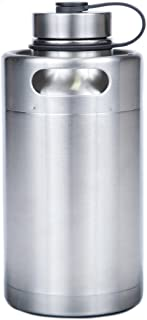 Manna Keg Growler 64 oz Double Walled Vacuum Insulated Stainless Steel w/Thermoplastic Rubber Travel Loop | BPA & Lead Free | Keeps Liquid Cold for 24 Hours & Hot for 12 hours