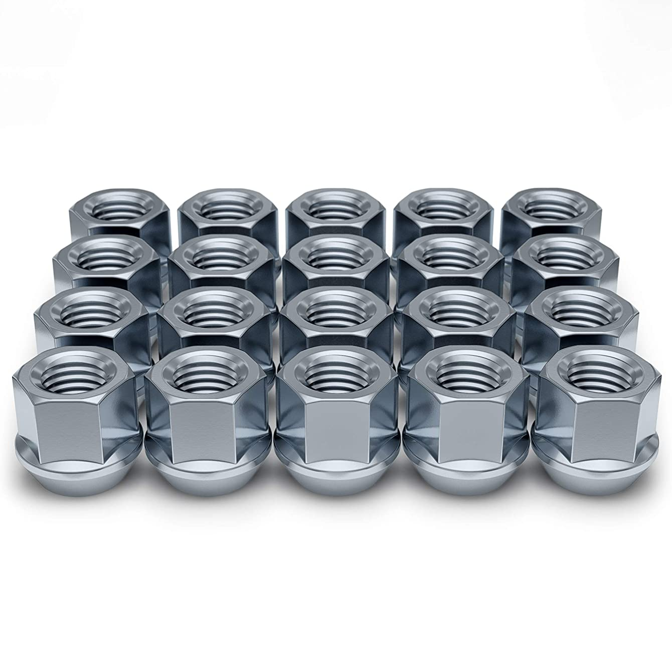 White Knight Wheel Accessories 1309-1S Zinc M14 x 1.50 Open End Bulge Acorn Lug Nut 20 Pack
