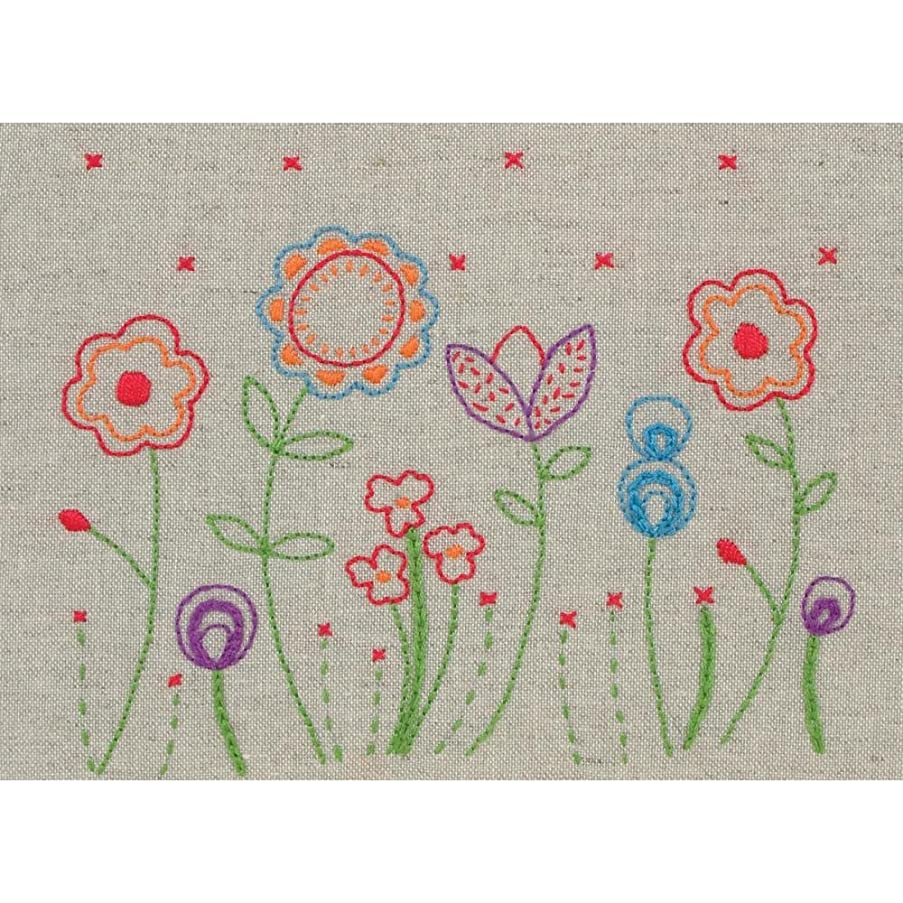 Maia Fleur Free Style Embroidery Kit, 6 by 7-3/4-Inch