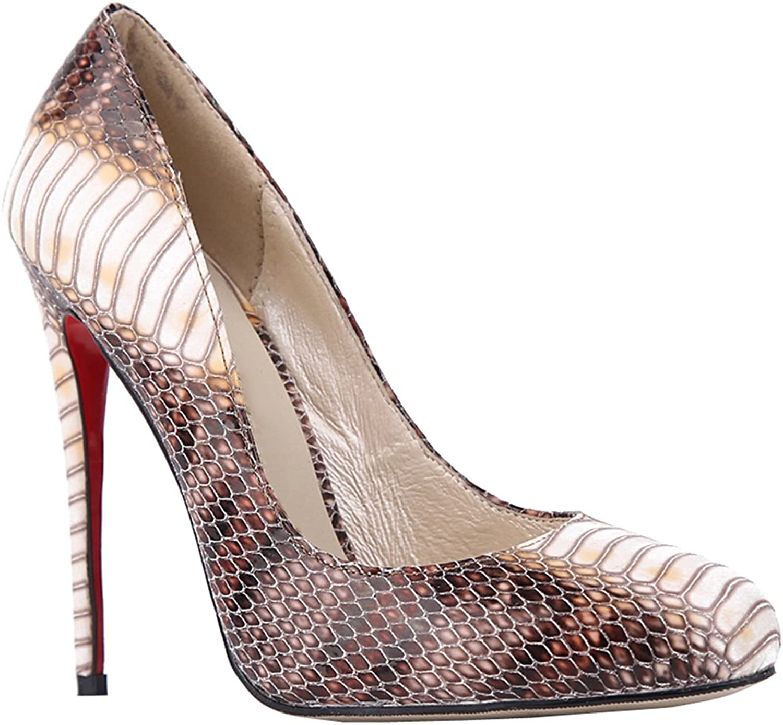 TDA Women's Round Toe Snakeskin PU Evening Party Dress Sexy Stiletto shoes