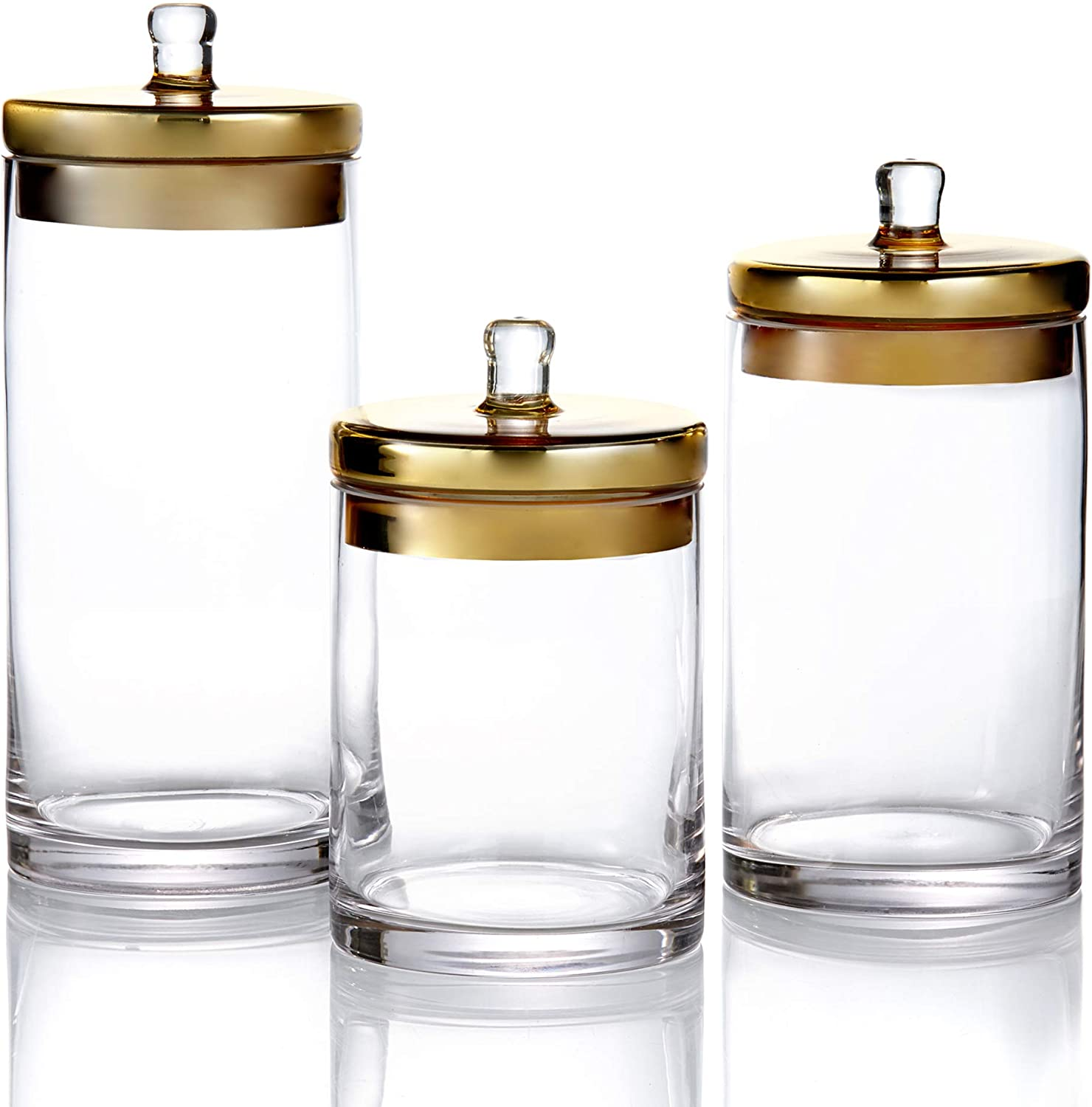 Fifth Avenue 203238-GB-GD Canister Set 3-Piece Glass Jars With gold Lids for Cookies, Candy, Coffee, Flour, Sugar, Rice, Pasta, Cereal & More, 12, 10, 8.46 H, Clear