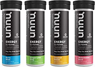 Nuun Energy: Caffeine, B Vitamins, Ginseng, Electrolyte Drink Tablets, Mixed Flavors, 40 Count