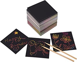 Rainbow Scratch Art Mini Notes with 2 Stylus Pens - 250-Pack Rainbow Art Scratch-off Papers, Black Doodle Pad with Rainbow Background