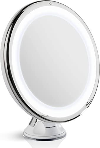 Fancii 10X Magnifying Makeup Mirror with Natural Daylight LED - 20 cm Large Lighted Travel Vanity Mirror - Dimmable L...