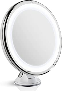 Fancii 10X Magnifying Makeup Mirror with Natural Daylight LED - 20 cm Large Lighted Travel Vanity Mirror - Dimmable Light,...