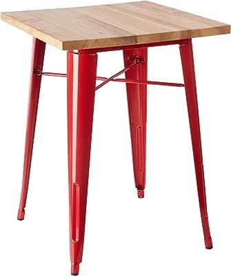 Premier Housewares Table Aldgate (Quartier de Londres), en métal, Rouge