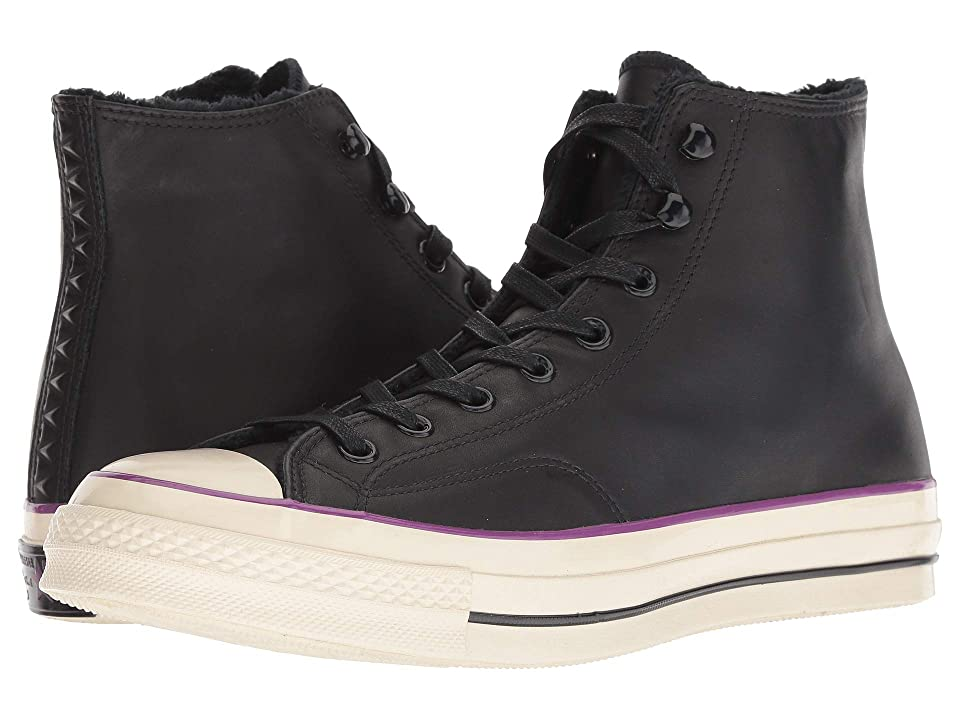 Converse Chuck 70 Leather Hi (Black/Icon Violet/Natural Ivory) Lace up casual Shoes