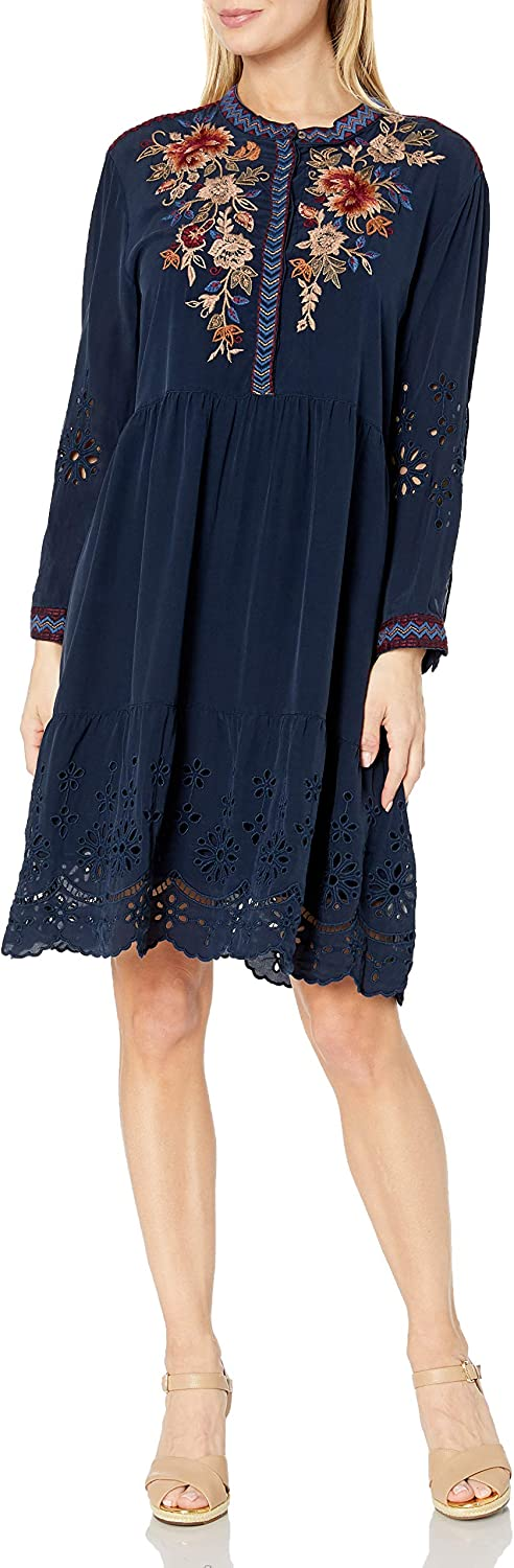 Johnny Was Women/'s Printed Midi Dress with Eyelet Choose SZ//color