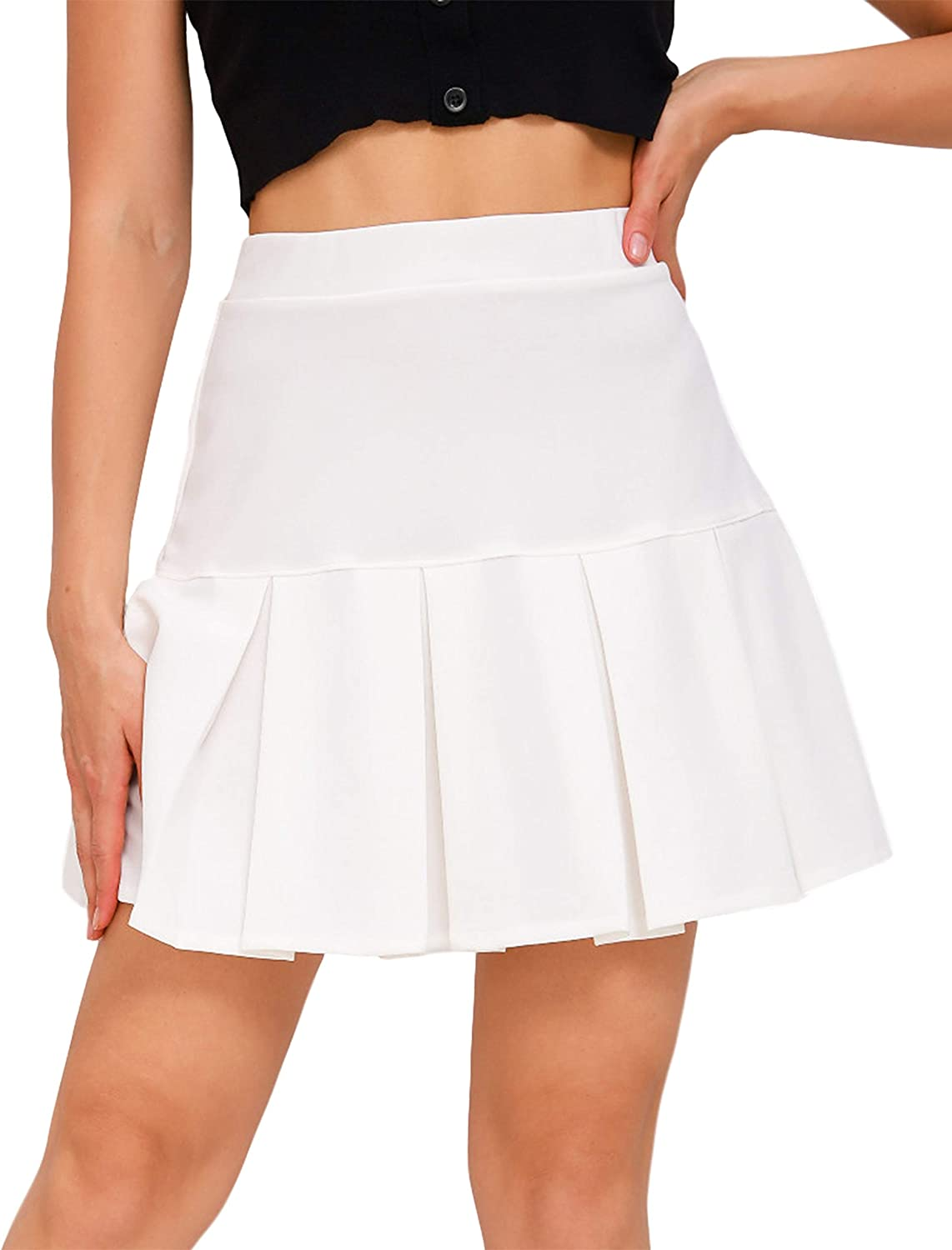 Uaneo Womens Casual Solid Pleated Elastic High Waist A-Line Skater Mini Skirts(White-M)