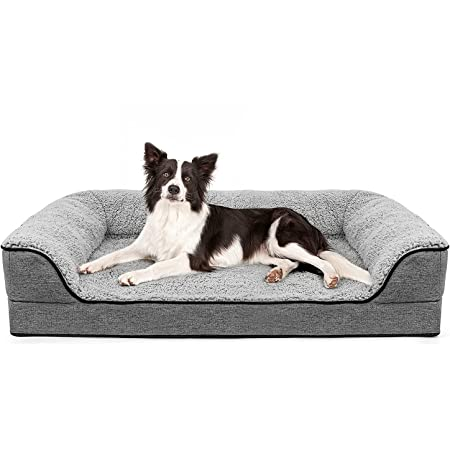 Orthopedic Large Dog Bed, Washable Pet Sofa Bolster Bed with Removable Cover & Orthopedic Foam, Large Dog Beds for Dogs Under 60 lbs