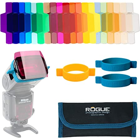 Rogue Flash Gels for Speedlights - 20 Gel Colors - Universal Fit Lighting Filters - Gels Printed for Easy Identification - Combo Kit for Portrait Photographers