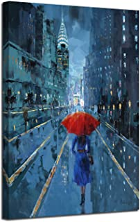 Ardemy Canvas Wall Art Modern Blue New York Cityscape Painting Picture, Lady with Red Umbrella Street Scenery One Panel Framed for Living Room Bedroom Home Office Decoration, Original Design, 40
