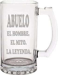 Abuelo El Hombre El Mito La Leyenda Mug for Abuelo - Etched 16oz. Beer Mug Fathers Day, Gift for Dad, Gift for Abuelo, Best Abuelo Ever Beer Mug