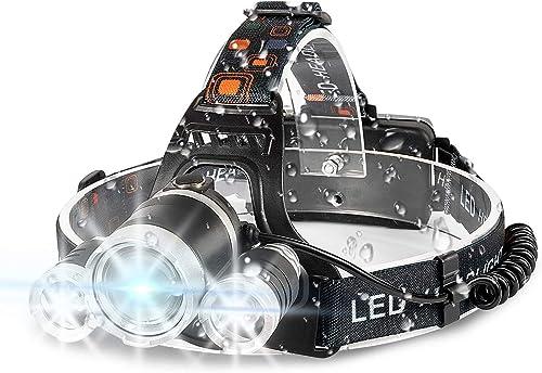 Headlamp, 6000 High Lumens Brightest Head Lamp, LED Work Headlight 18650 USB Rechargeable Waterproof Flashlight 4 Mod...