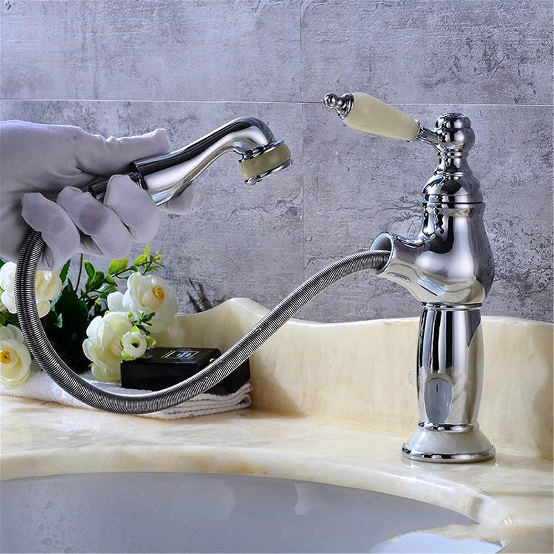 Bijjaladeva Wasserhahn Bad Wasserfall Mischbatterie Waschbecken Waschtisch Armatur für BadDie Jade Ziehen Waschbecken Retro-Kupfer Kaltes Wasser auf Den ausziehbaren Tub Faucet D