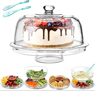 6 in 1 Cake Stand with Dome Lid 12.4 X 6.5 X 12.4 Acrylic Cake Stands Serving Platter with 2PCS Spoons Salad Dessert Fruit...