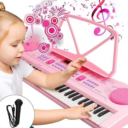 WOSTOO Teclado Electrónico Piano 61 Teclas, Teclado de Piano Portátil con Atril, Fuente de Alimentación, Música Digital, Teclado de Piano para Niños - ...