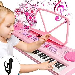 WOSTOO Teclado Electrónico Piano 61 Teclas, Teclado de Piano Portátil con Atril, Fuente de Alimentación, Música Digital, Teclado de Piano para Niños - Rosa