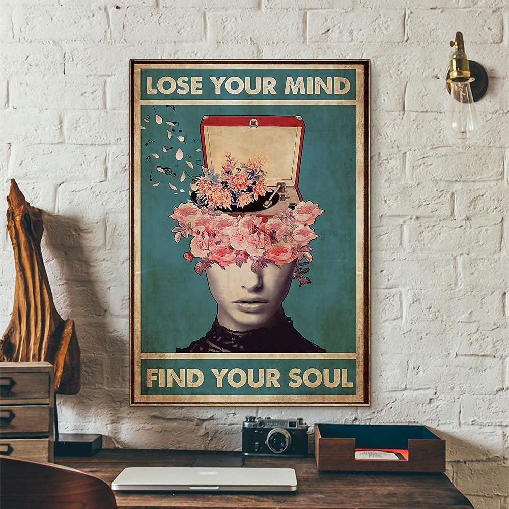Lose Your Mind Find Your Soul Vintage Hippie Meditation Girl Flower And Music Box Wall Art Poster Painting Canvas Artwork Vintage Retro Poster Paintings for Bedroom Bathroom Decor