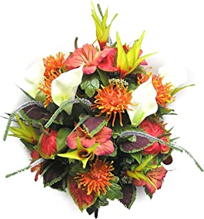Admired By Nature 36 Stems Artificial Blooming Calla Lily and Spider Mum Greenery Mixed Bush for Home, Office, Hotel and Bridal Wedding Arrangement Decoration, Orange/Yellow/Red