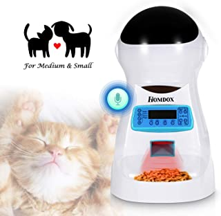 Xuliyme Automatic Dog&Cat Feeder Auto Pet Food Dispenser with LCD Display,Voice Record Remind, Timer Programmable, Portion Control for Medium & Large Dog - 4 Meals a Day