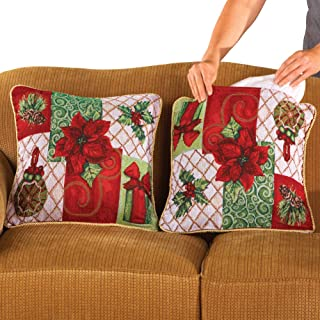 Collections Etc Christmas Poinsettia Pillow Covers- Set of 2