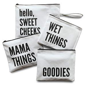 Diaper Bag Organizing Pouches | Set of 4 Including Diaper Clutch | Dry Wet Bag