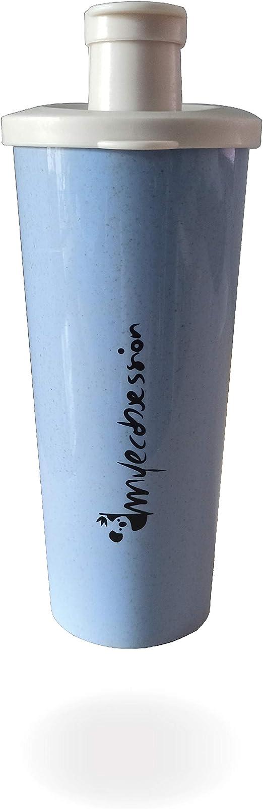 MYECOBSESSION Shaker hermético para batidos de proteínas de 500ml en Fibra de Trigo - con batidor - Mixing Ball - sin BPA (Azul)