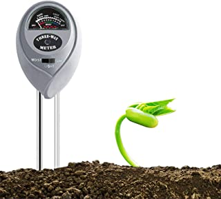 YUIDDA Soil Test Kit, Moisture Meter for Potted Plant, Soil pH Moisture Light Meter Soil Tester 3-in-1 for Garden Farm Lawn Indoor&Outdoor, No Battery Needed(Sliver, 1 Pcs)