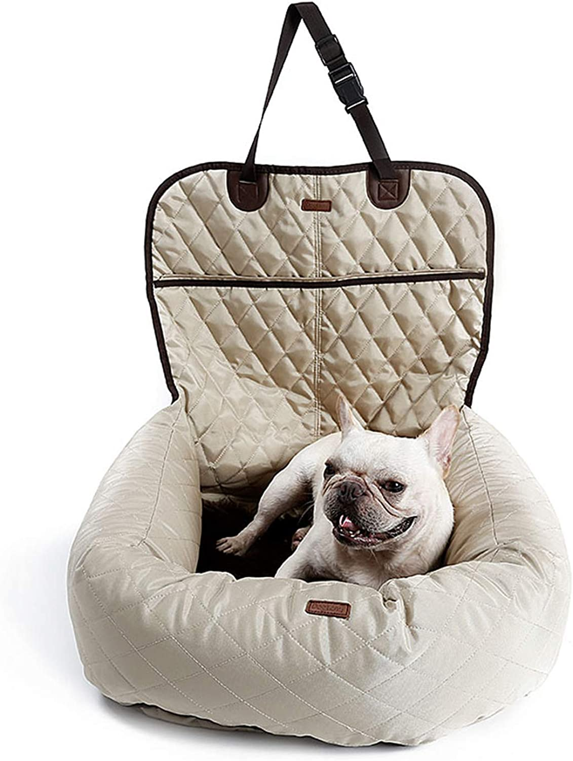 Portable Pet Car Cushion Booster Seat Bed Dog Travel Sofa Carrier with Seat Belt Soft Warm for Small Medium Dogs Cats (Beige)