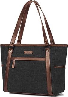BRINCH Women Laptop Tote Bag Water Resistant Nylon Shoulder Handbag Ladies Work Briefcase Lightweight Zip Travel Tote Shopping Duffel Bag Top Handle Commuter Bag Fits 15.6 Inch Laptop, Black-Brown